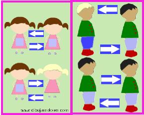 Con estas imágenes, en la que se incluye una igual pero con diferencias, los niños y niñas pueden a simple vista y sin excesiva necesidad de observación, ir tomando