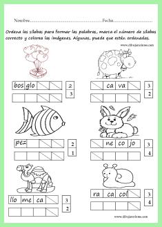 ordenar las sílabas para formar las palabras del ejercicio