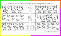 unir cada número con la cantidad de dibujos que corresponda