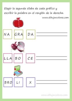 Colocar cada sílaba en su casilla de forma que, sea legible, la palabra desordenada del gráfico.