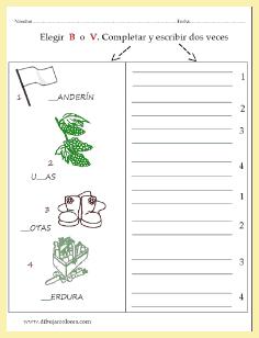 Elegir, para cada palabra detallada además, con un dibujo, la letra correcta.