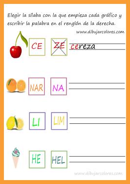 En estos ejercicios las sílabas están construidas con consonantes.