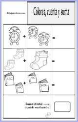 Ficha educativa - Colorear y Sumar 8
