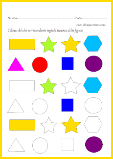Seguir la secuencia de colores en las figuras en blanco