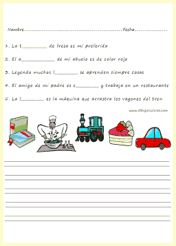 escribir una frase con cada una de las palabras conforme a los dibujos
