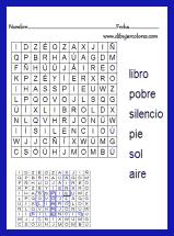sopa de letras sencilla con un máximo de seis palabras