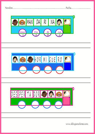 Juego de sílabas  montadas en un bus para que escriban la palabra en las ruedas, observen y cuenten cuantas sílabas la componen y pongan debajo el número de cada sílaba.