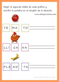 verbalizar la palabra silabeando y después escribirla separando las sílabas con guiones