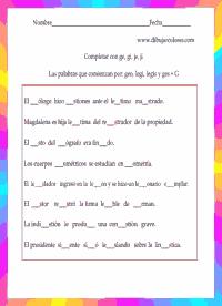 Diferentes fichas para trabajar palabras que se escriben con la letra G