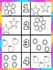 actividades de colorear y contar, asociando número y cantidad