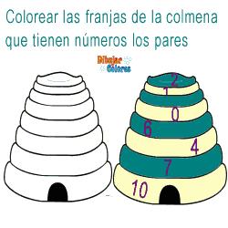 colorear colmena números pares