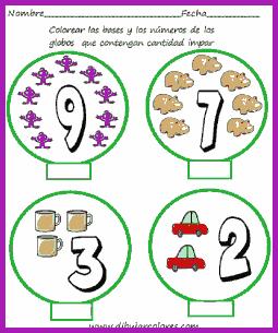 números pares e impares en globos