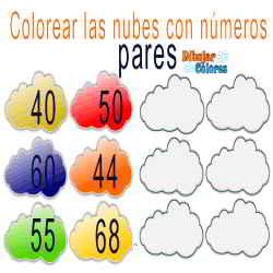 6 nubes colorear pares