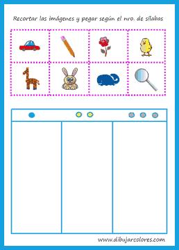 Recortar cada imagen superior e ir colocando y pegando en la parte inferior, según el número de sílabas.