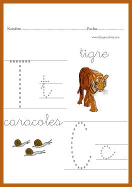 caligrafía de las letras t y c para peques