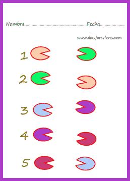 ejercicios para asociar por colores