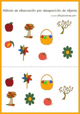 Método de observación por desaparición de objetos. En cada ficha hay dos imágenes separadas por una línea de puntos por donde cortar.