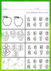 colorear del mismo color los dibujos y los números correspondientes