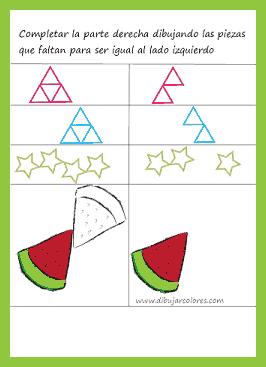 Completar los dibujos en la parte derecha hasta llegar a igualar la cantidad que hay en la sección de la izquierda.