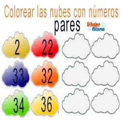 nubes 5 colorear números