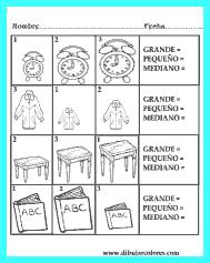 Ordenar los tamaños de los dibujos