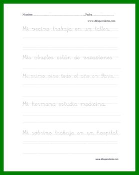 Caligrafía para imprimir, con pauta de dos rayas renglones con frases punteadas para copiar entre una y dos veces en las fichas