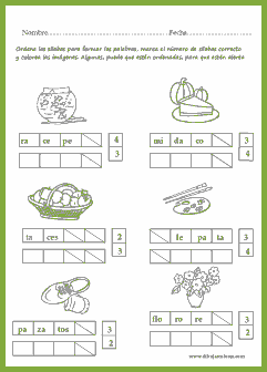 ordenar las sílabas, marcar cuántas son y colorear los dibujos