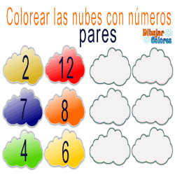 colorear nubes pares