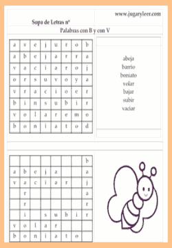 Sopa de letras con palabras que empiezan o contienen las letras B, V y H.