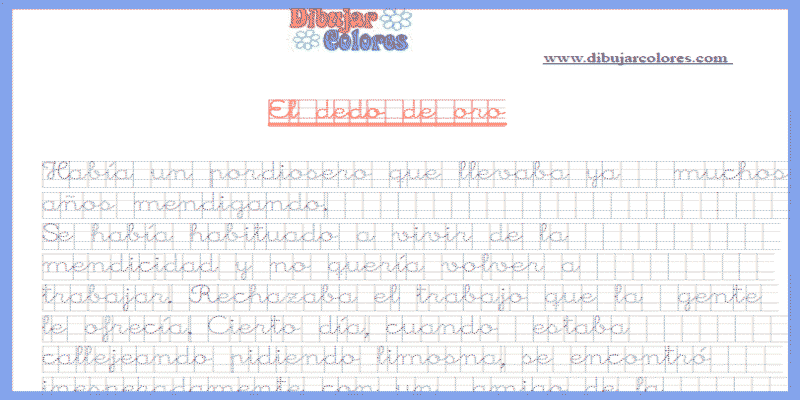 Ejercicio de caligrafía en cuadricula - Actividades Formativas