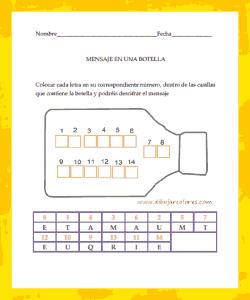 colocar las letras en su correspondiente lugar y reconocimiento de los números y los espacios que ocupa cada uno de ellos
