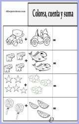 Ficha educativa - Colorear y Sumar 2