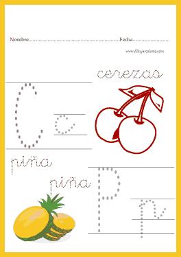 ejercicios de caligrafías, para niños a partir de los cuatro años