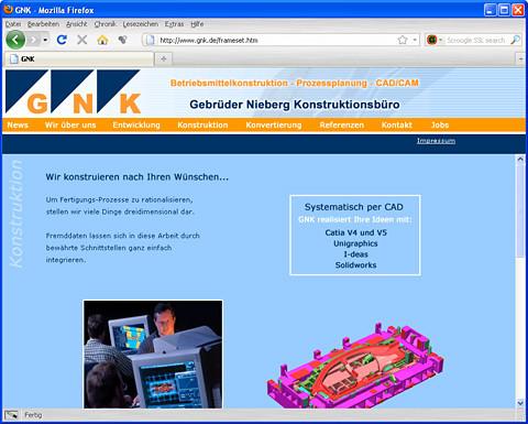 Website GNK - Gebrüder Nieberg Konstruktionsbüro