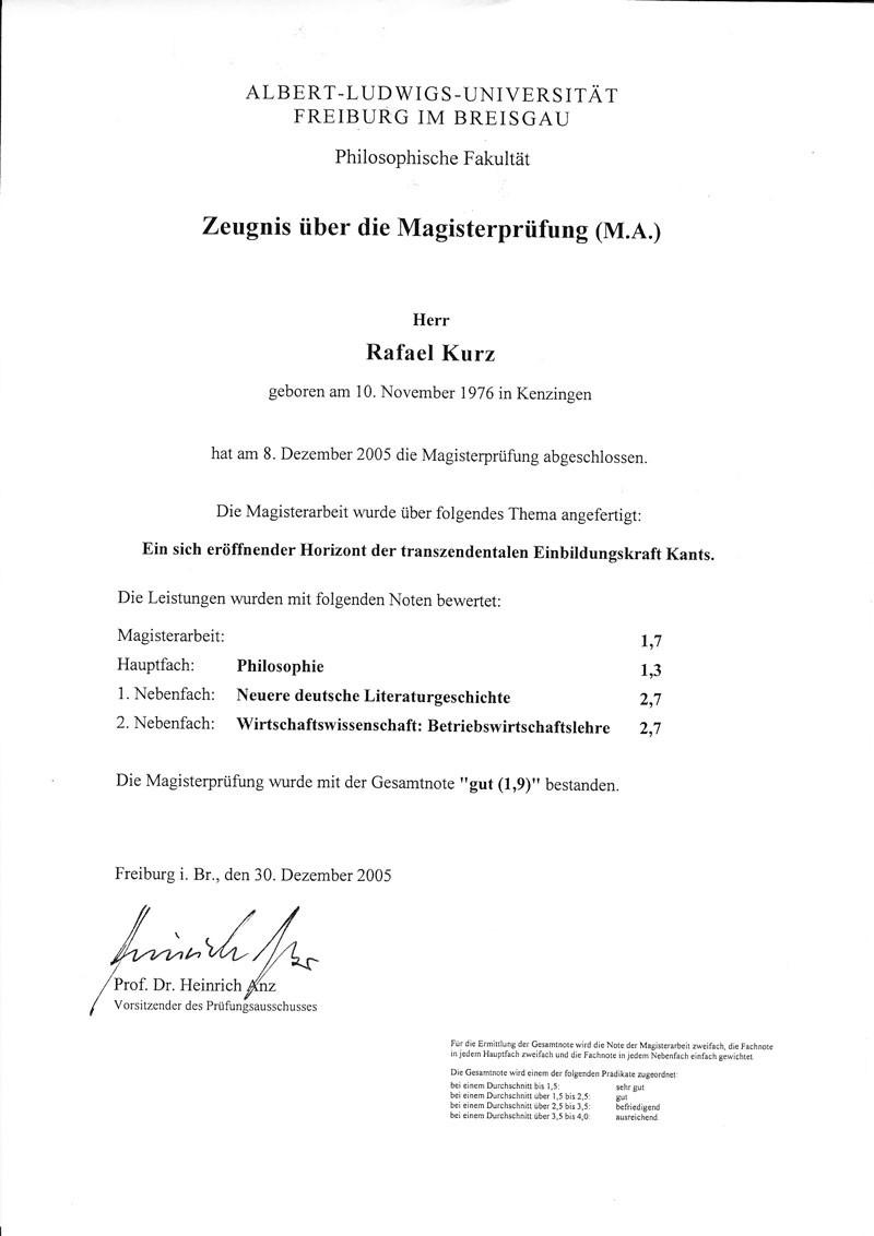 Abschluss der Albert-Ludwigs-Universität in Freiburg
