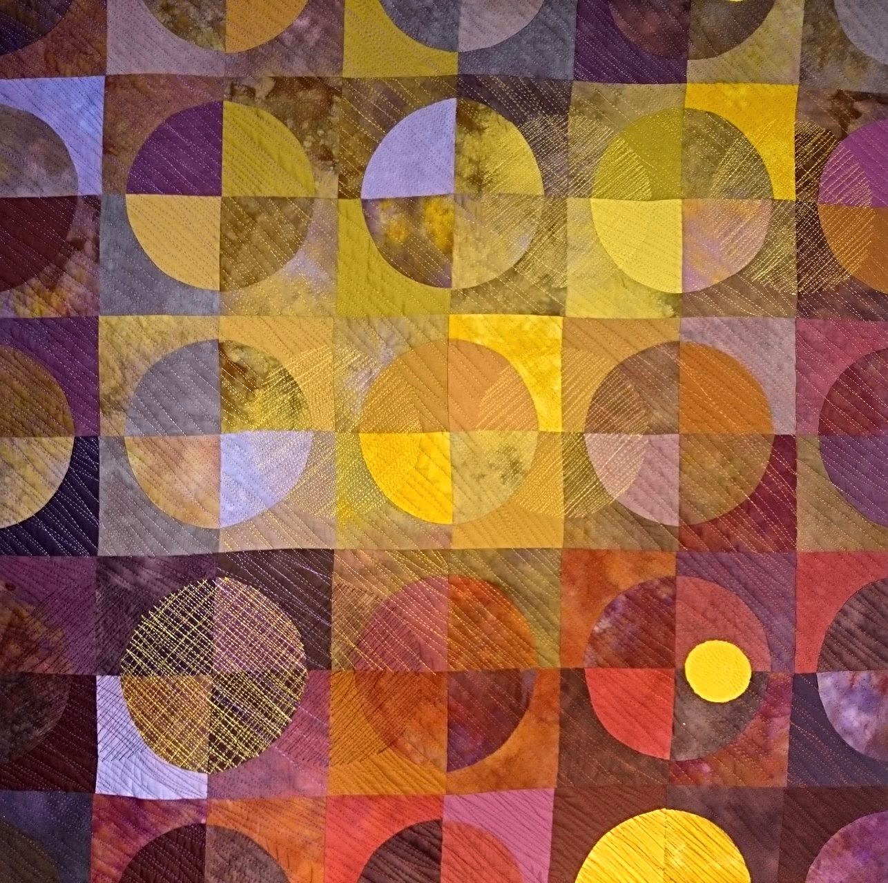 "Purple/Gold Circles   39""x 39""   w hanging sleeve"