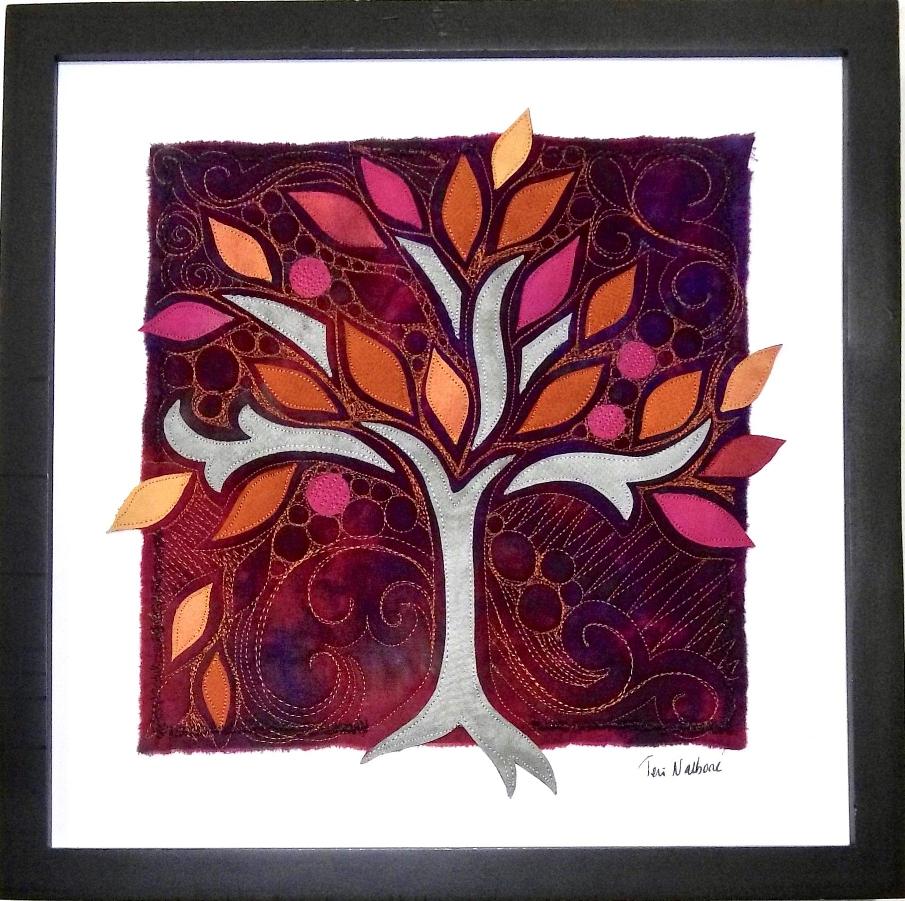 orange purple red tree