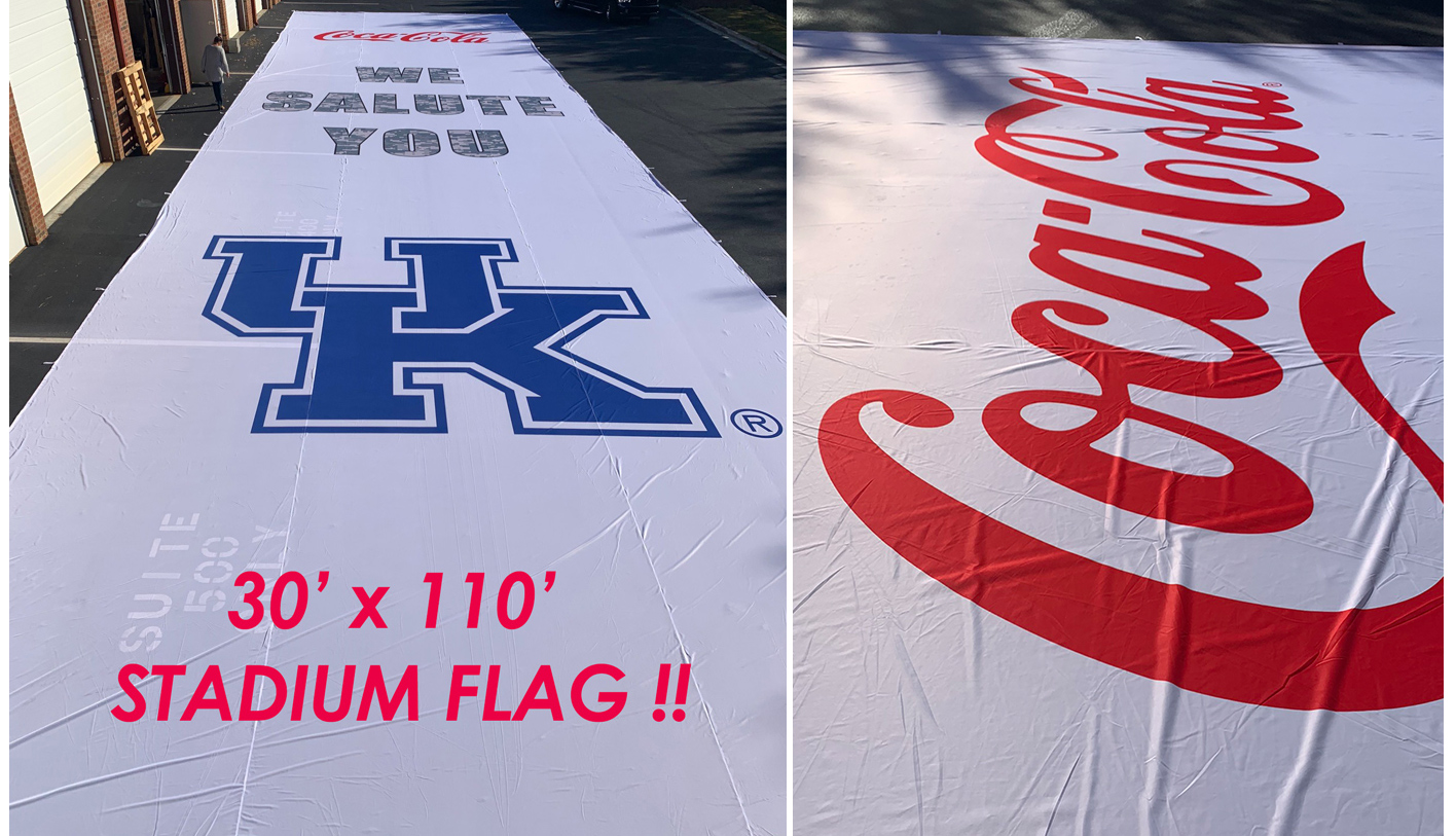 Huge Stadium Banner Flag 30 x 110 Yards UK CocaCola
