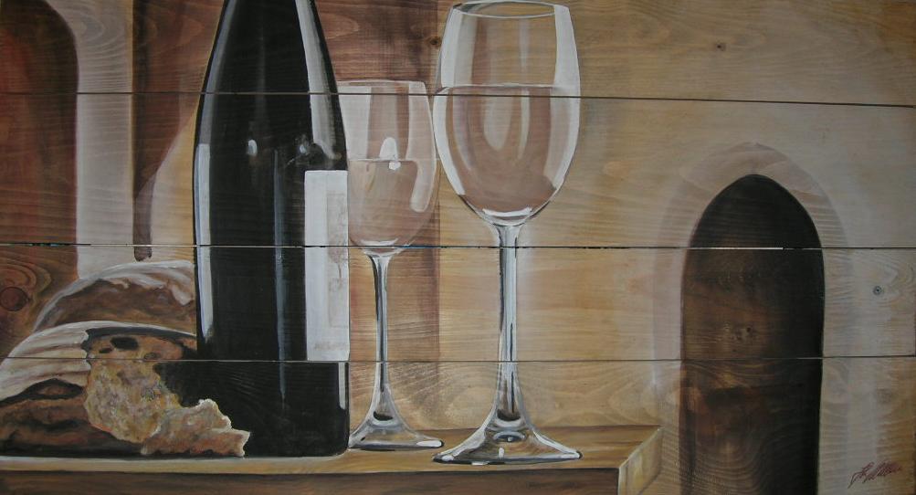 """""""Klosterwein"""" Acryl auf Holz 55 x 100 cm."""