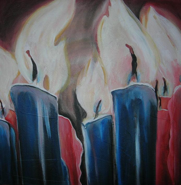 """Kerzen"" Acryl auf Leinwand 80 x 80 cm."