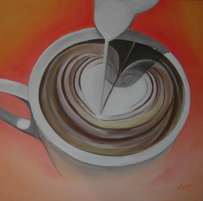 """Cappuccino"" Acryl auf Leinwand 80 x 80 cm."