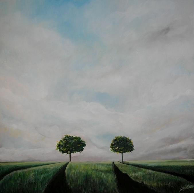 """""""2 Bäume am Weg"""" Acryl auf Leinwand 100 x 100 cm."""