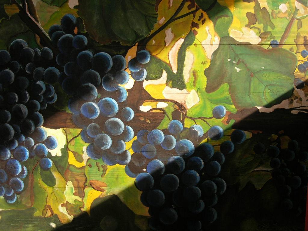 """""""Pinot noir"""" Acryl auf Holz 100 x 110 cm."""