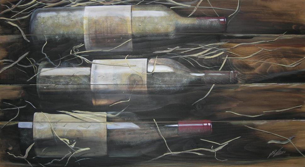 """3 x Rotwein"" Acryl auf Holz 55 x 100 cm."