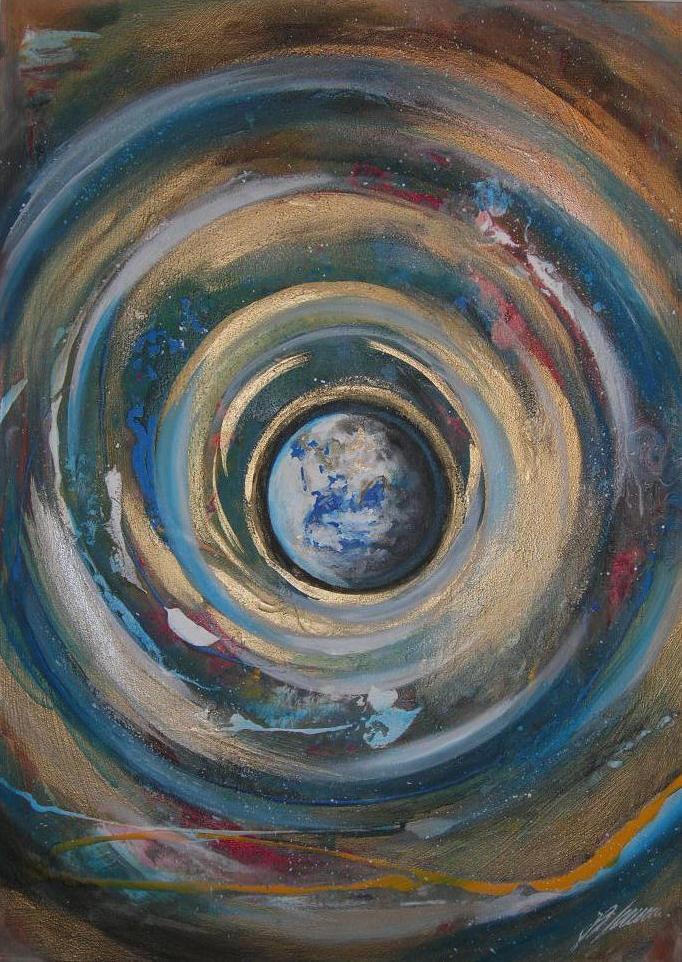 """"""" Erdmantel"""" Acryl auf Leinwand 50 x 70 cm."""