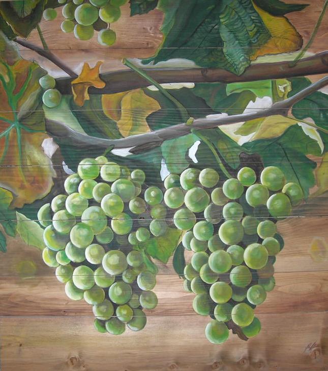 """Chardonnay"" Acryl auf Holz 100 x 110 cm."