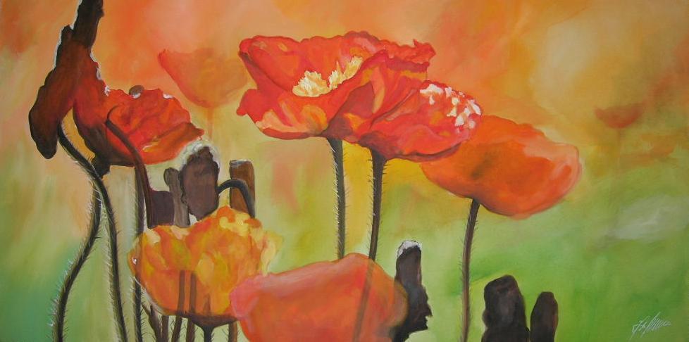 """Mohnblumen"" Acryl auf Leinwand 50 x 100 cm."