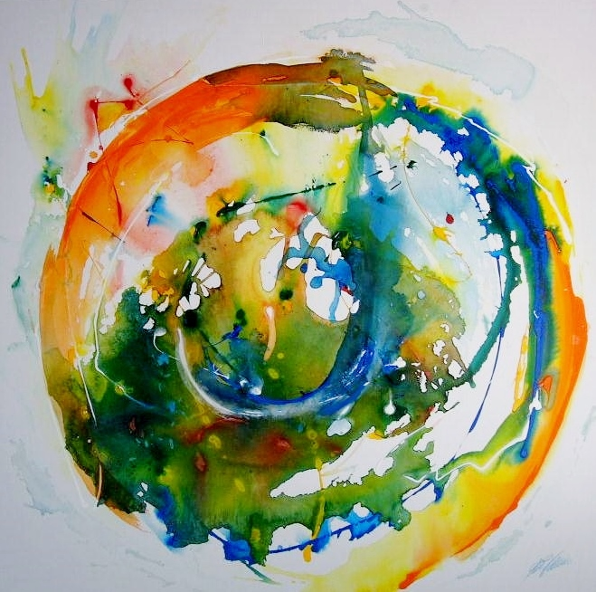 """""""Farbkomposition I"""" Acryl auf Leinwand 100 x 100 cm."""