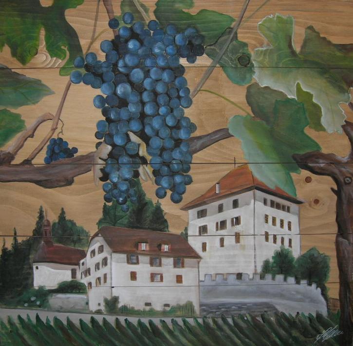 """""""Schloss Heidegg"""" Acryl auf Holz 60 x 60 cm."""