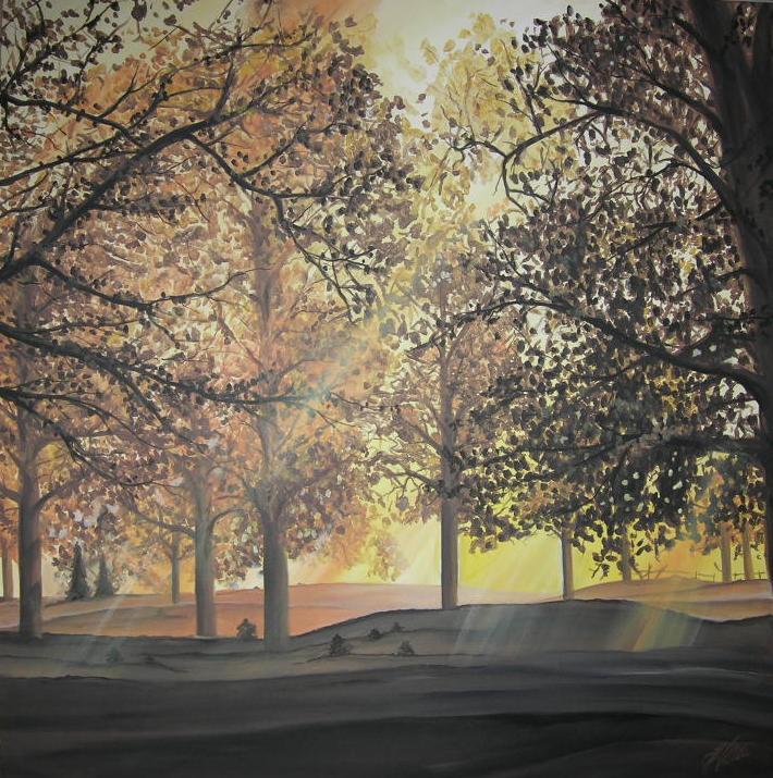 """Im Wald"" Acryl auf Leinwand 100 x 100 cm."
